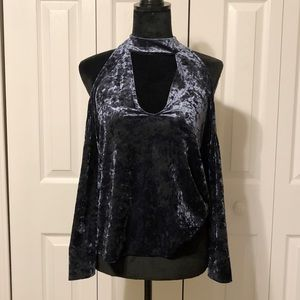 AE Navy Blue Crushed Velvet Off- Shoulder Top